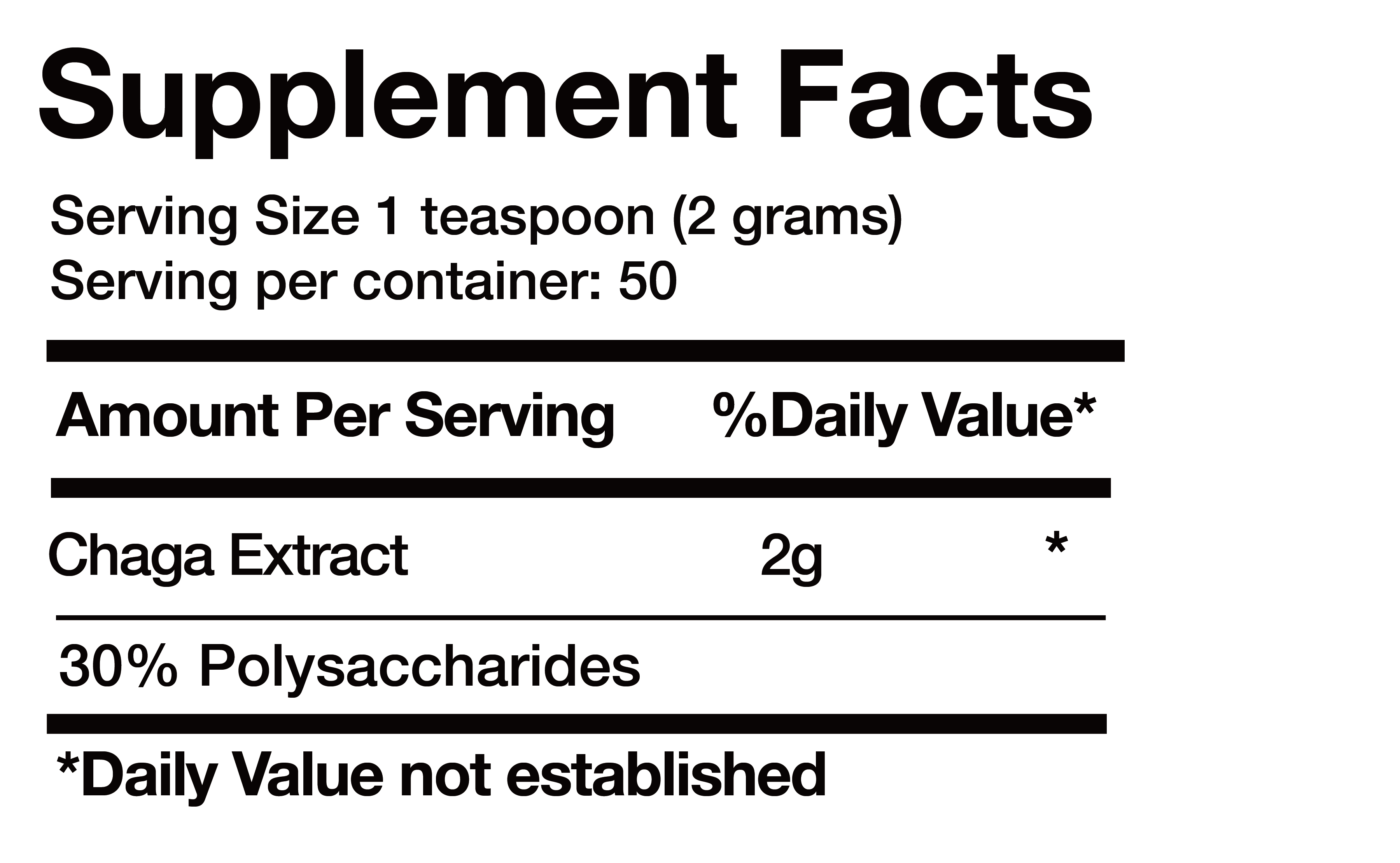 Chaga Extract nutrition facts